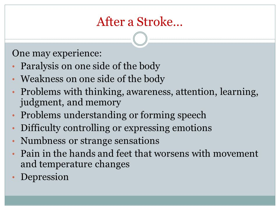 After a Stroke… One may experience: Paralysis on one side of the body
