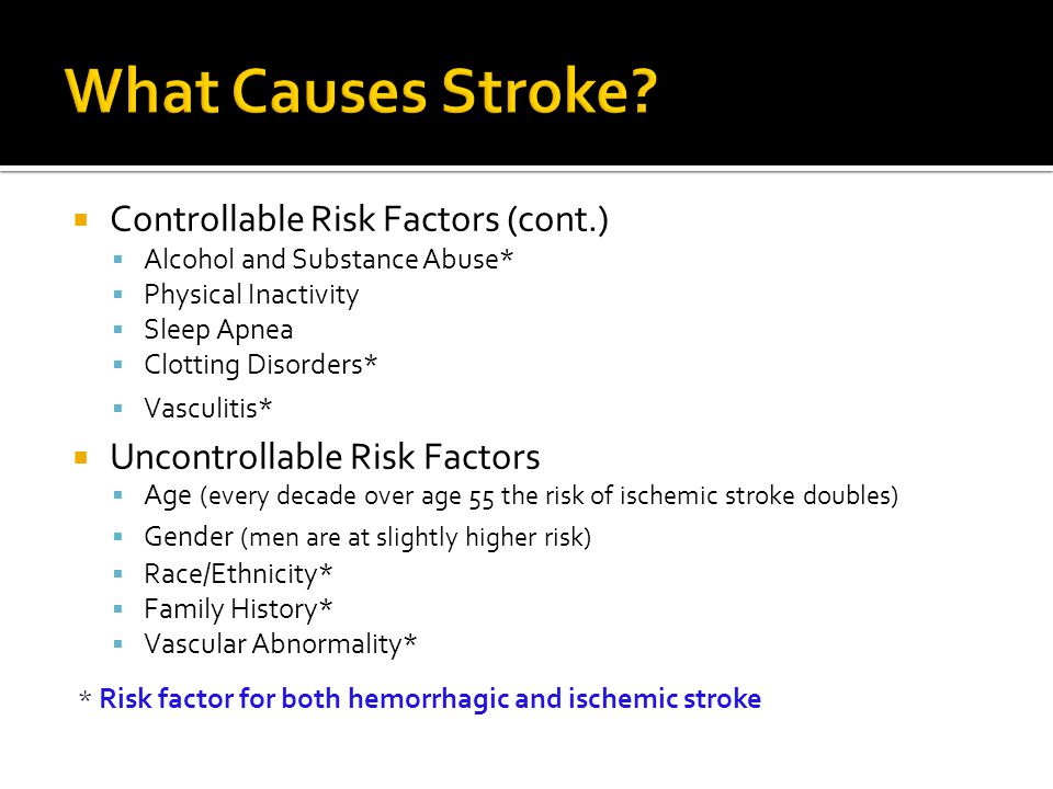 What Causes Stroke Controllable Risk Factors (cont.)