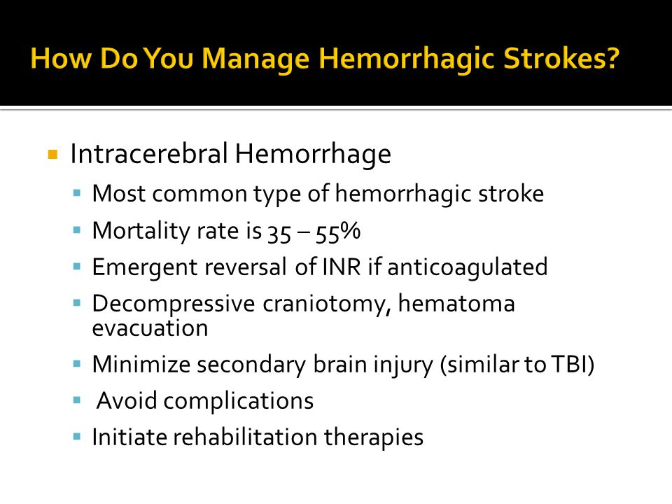 How Do You Manage Hemorrhagic Strokes