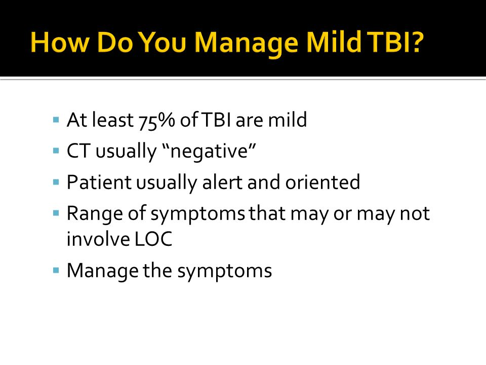 How Do You Manage Mild TBI
