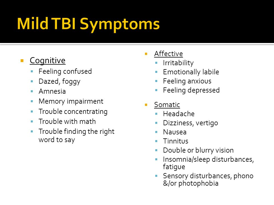 Mild TBI Symptoms Cognitive Affective Irritability Emotionally labile