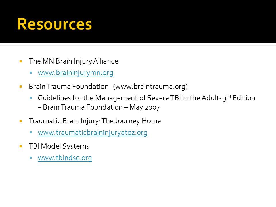 Resources The MN Brain Injury Alliance www.braininjurymn.org