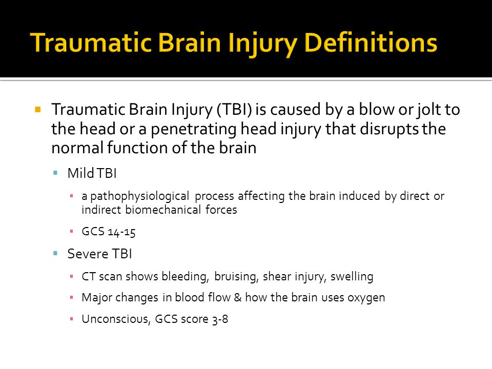 Traumatic Brain Injury Definitions