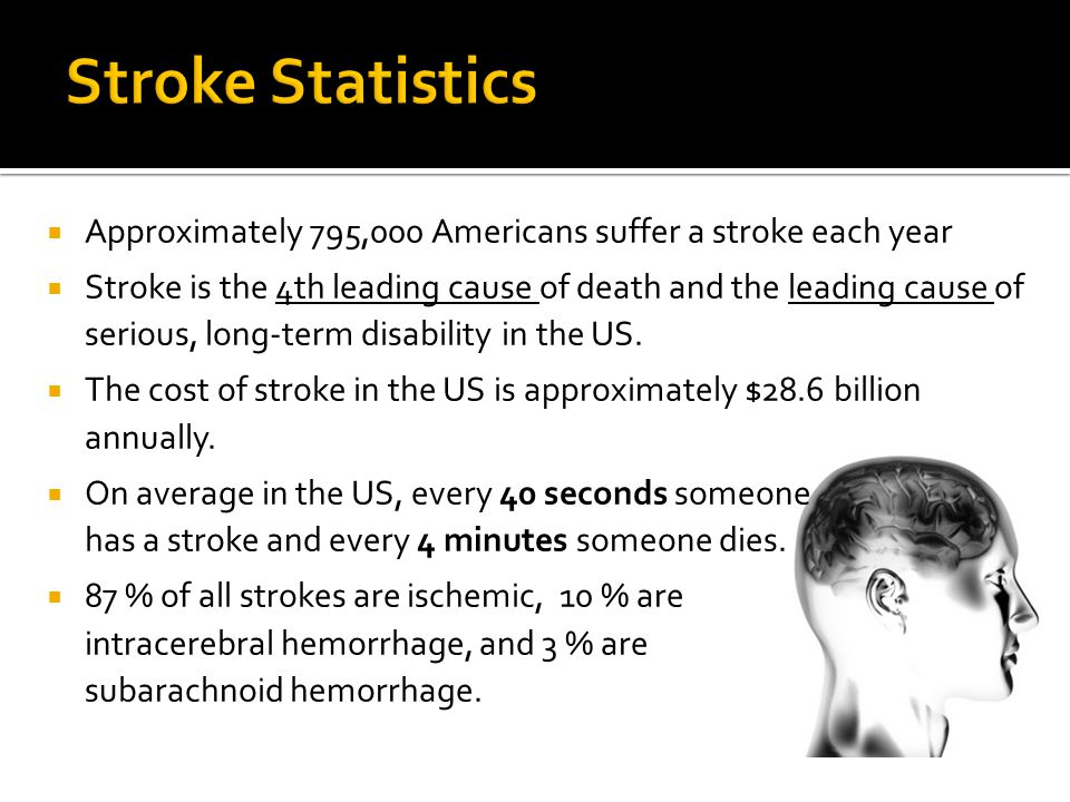 Stroke Statistics Approximately 795,000 Americans suffer a stroke each year.