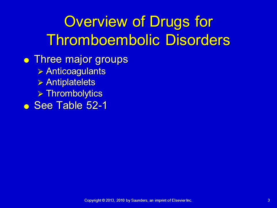 Overview of Drugs for Thromboembolic Disorders