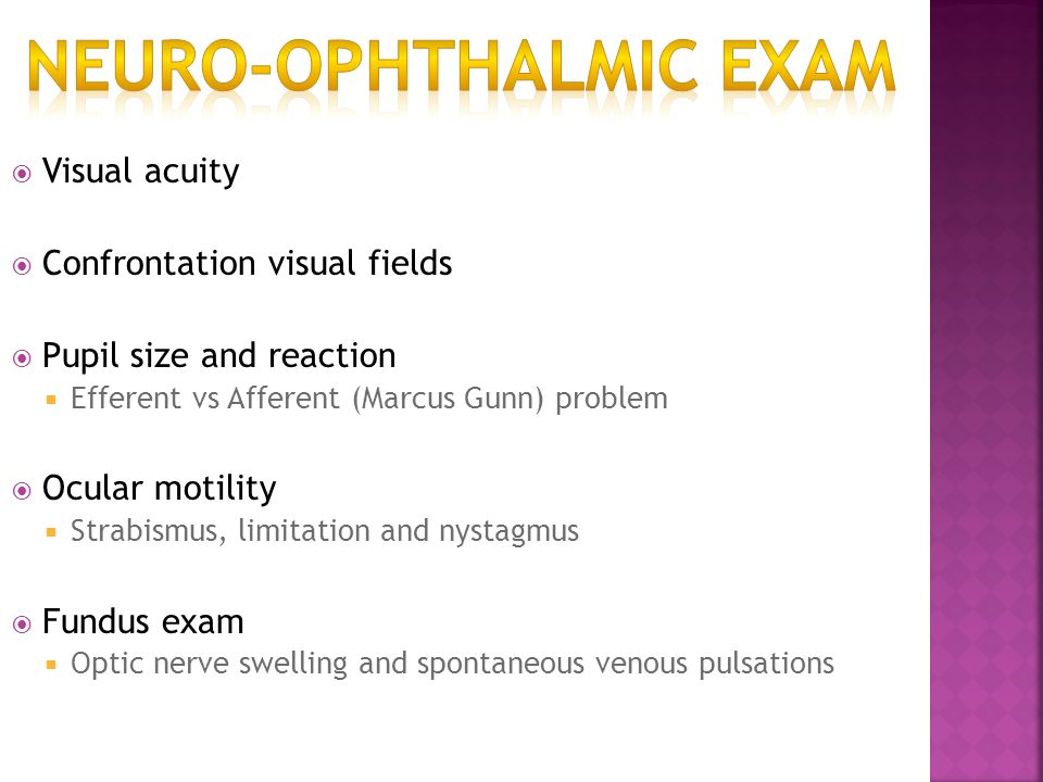 Neuro-Ophthalmic Exam