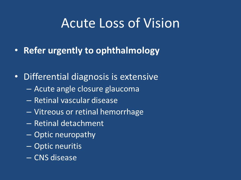 Acute Loss of Vision Refer urgently to ophthalmology