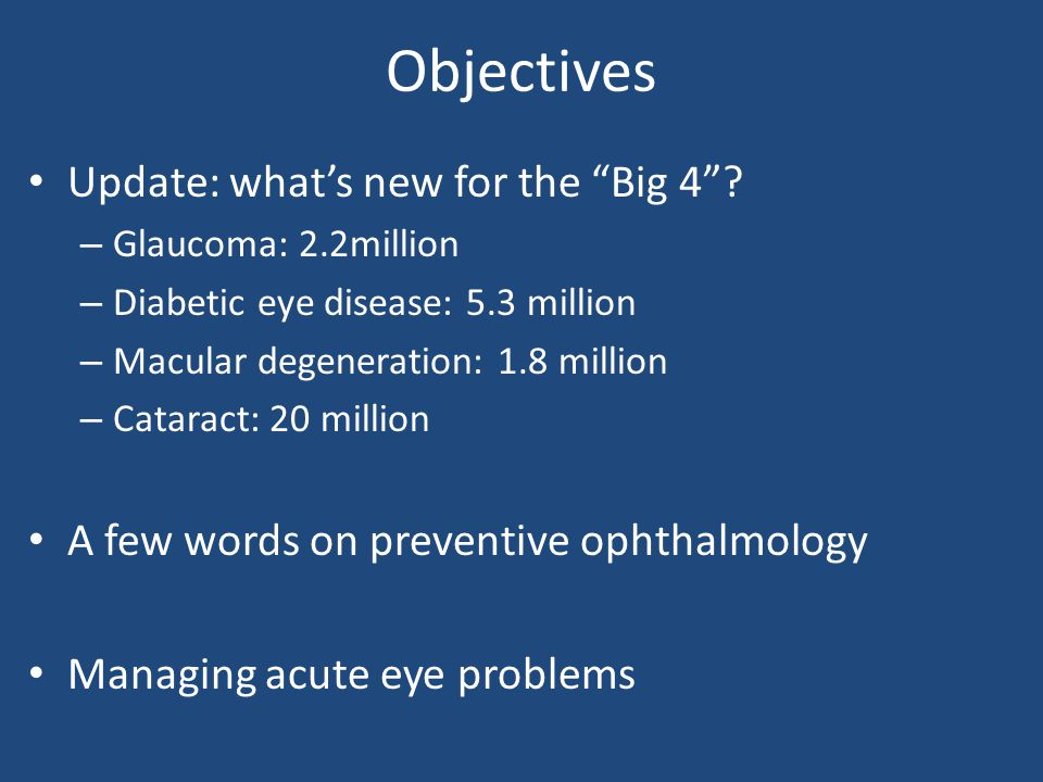 Objectives Update: what's new for the Big 4