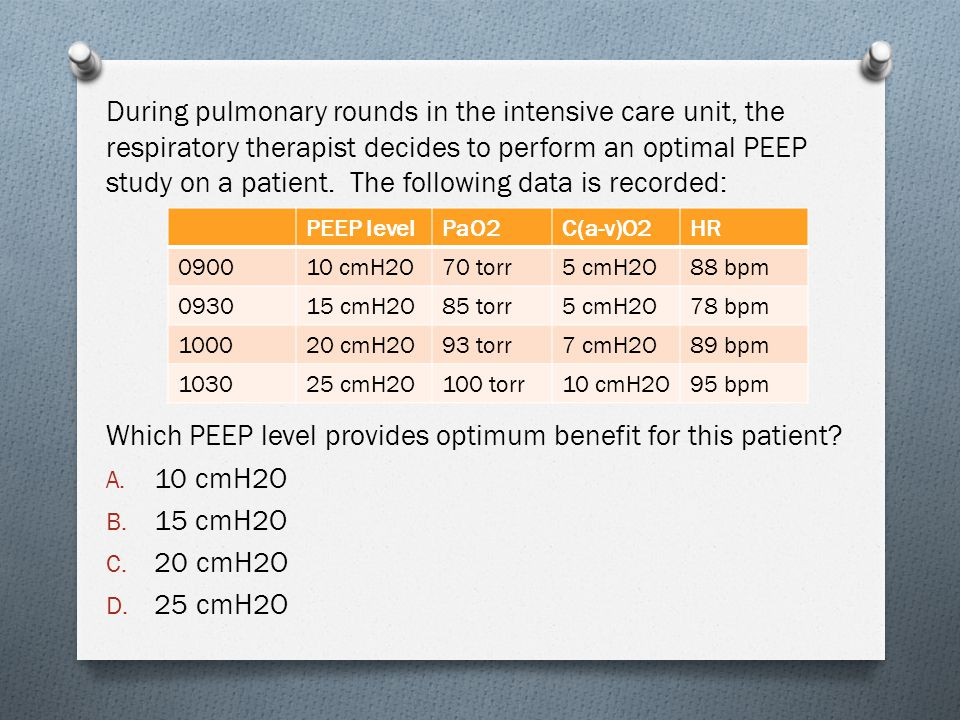 Which PEEP level provides optimum benefit for this patient 10 cmH2O