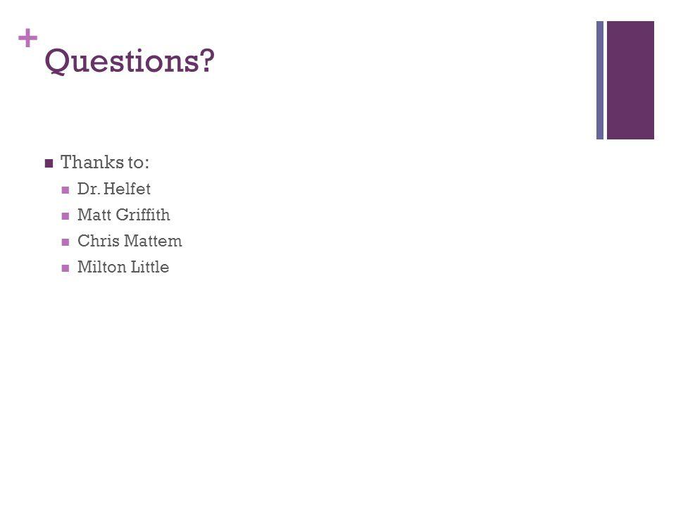 Questions Thanks to: Dr. Helfet Matt Griffith Chris Mattem