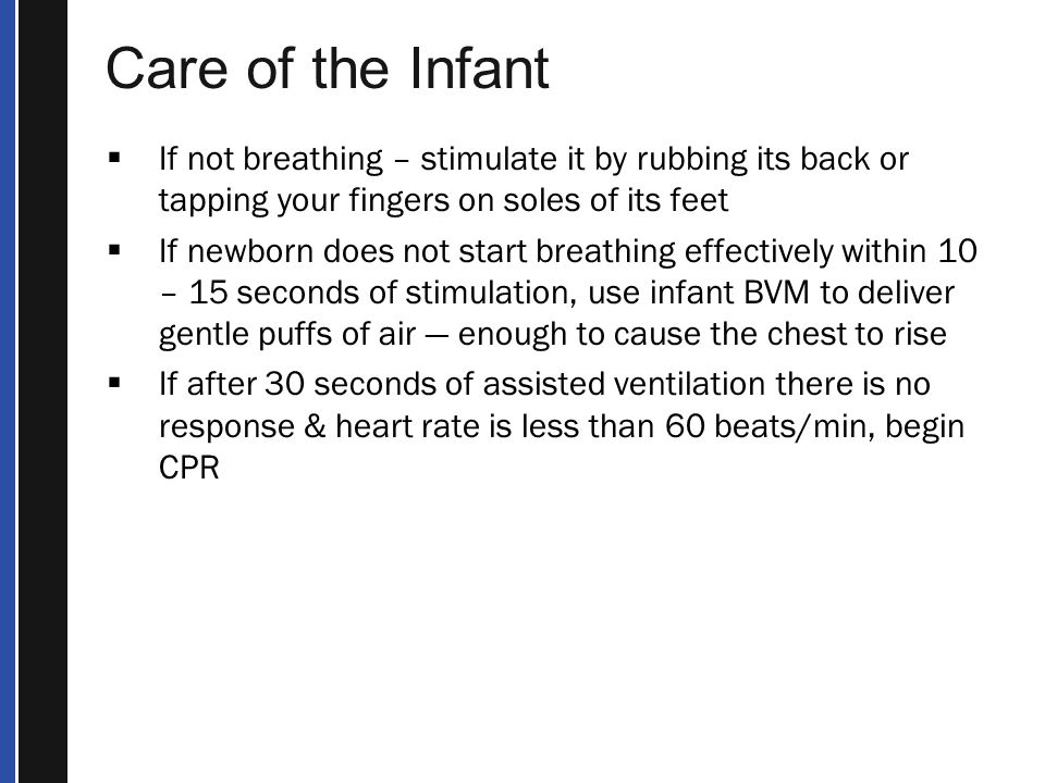 Care of the Infant If not breathing – stimulate it by rubbing its back or tapping your fingers on soles of its feet.