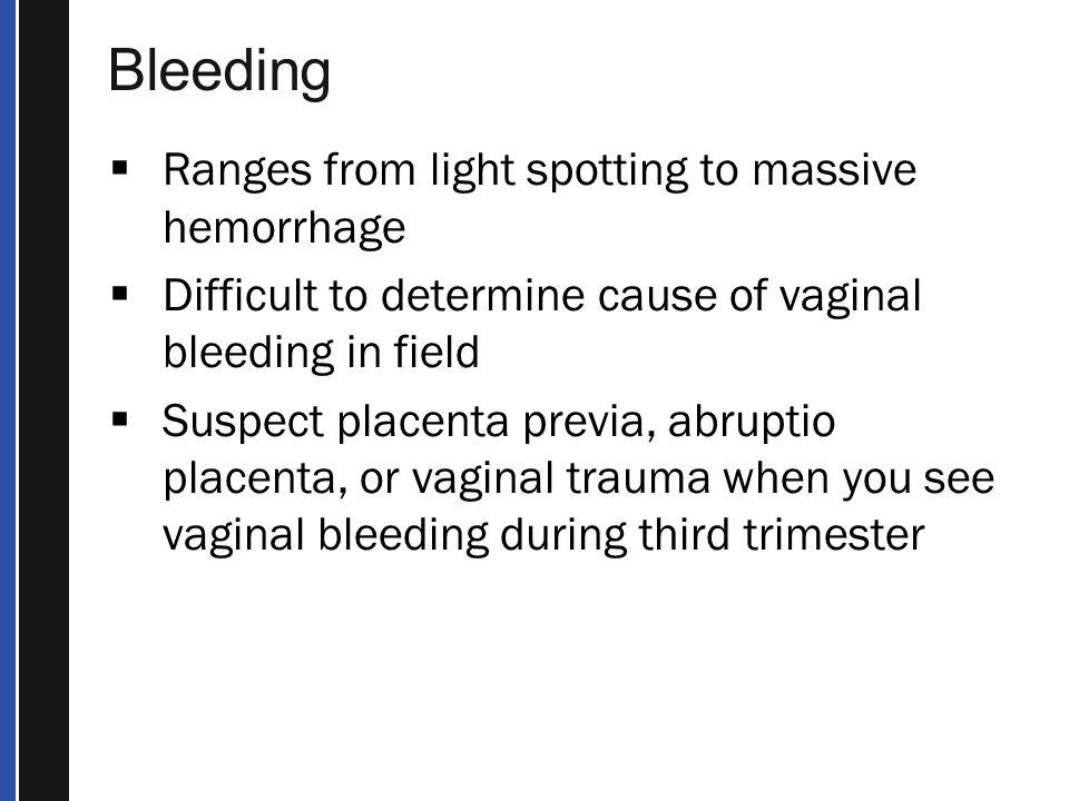 Bleeding Ranges from light spotting to massive hemorrhage
