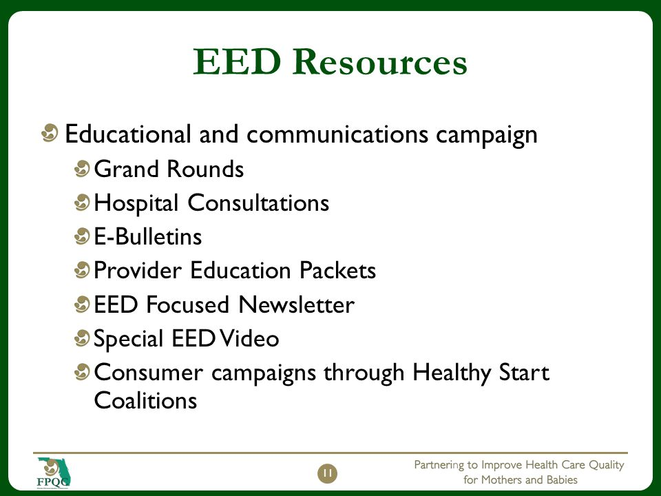 EED Resources Educational and communications campaign Grand Rounds