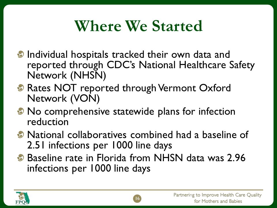 Where We Started Individual hospitals tracked their own data and reported through CDC's National Healthcare Safety Network (NHSN)