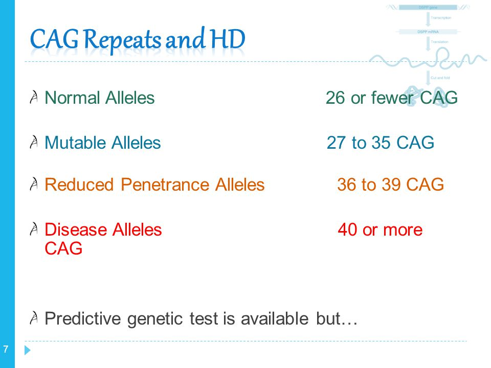 CAG Repeats and HD Normal Alleles 26 or fewer CAG