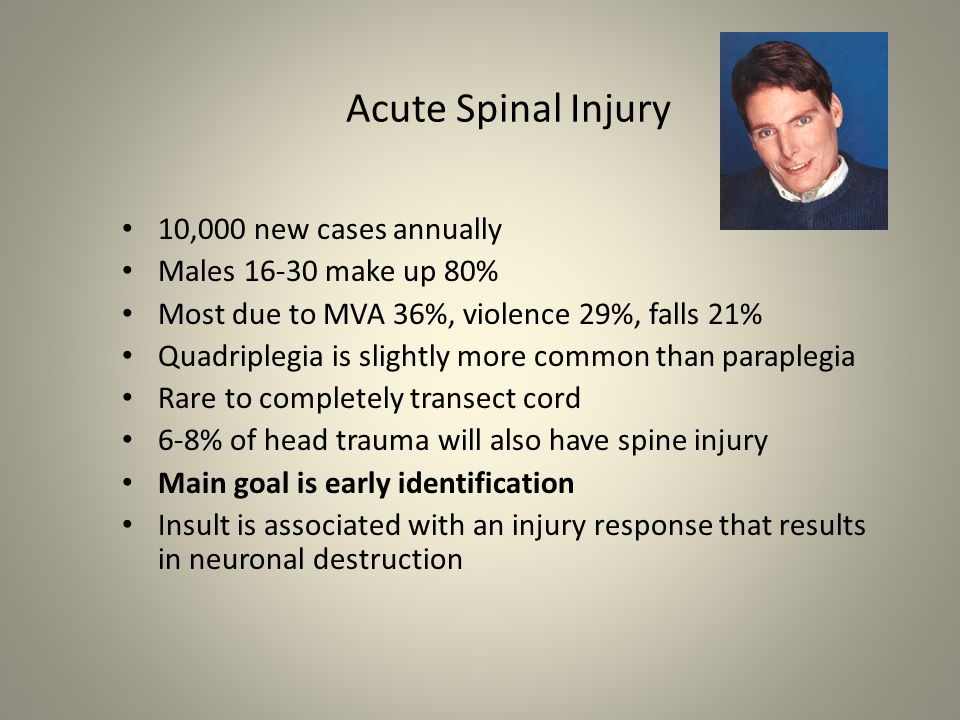 Acute Spinal Injury 10,000 new cases annually Males 16-30 make up 80%