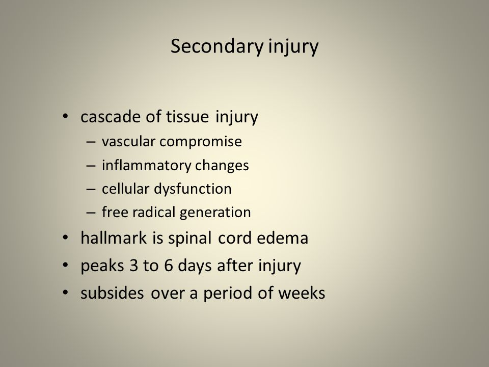 Secondary injury cascade of tissue injury