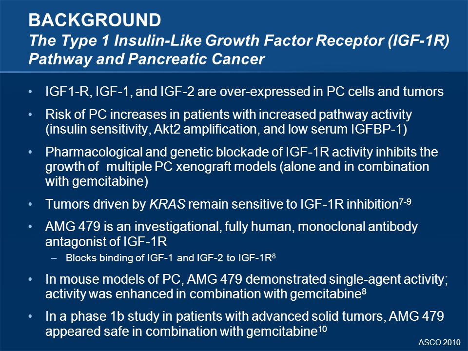 BACKGROUND The Type 1 Insulin-Like Growth Factor Receptor (IGF-1R) Pathway and Pancreatic Cancer
