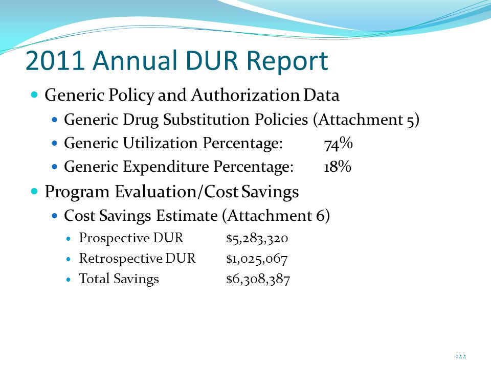 2011 Annual DUR Report Generic Policy and Authorization Data