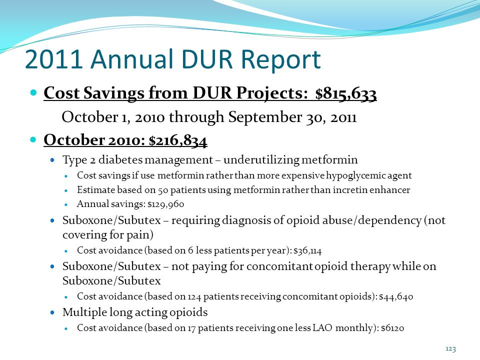 2011 Annual DUR Report Cost Savings from DUR Projects: $815,633