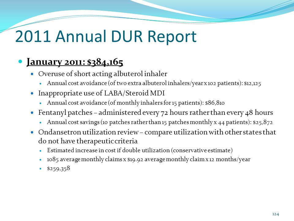 2011 Annual DUR Report January 2011: $384,165