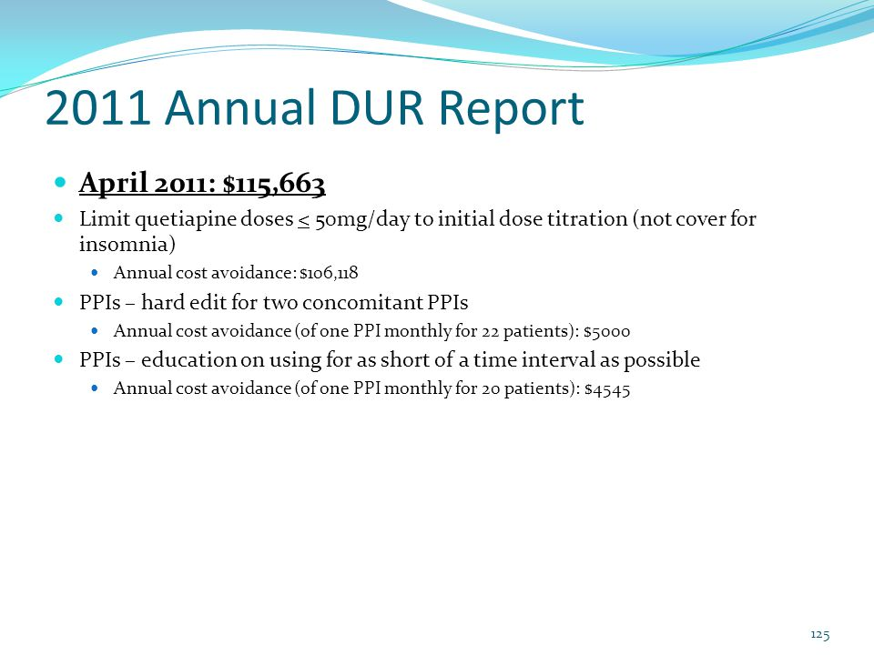 2011 Annual DUR Report April 2011: $115,663