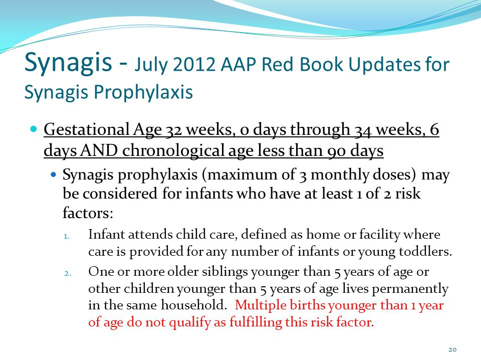 Synagis - July 2012 AAP Red Book Updates for Synagis Prophylaxis