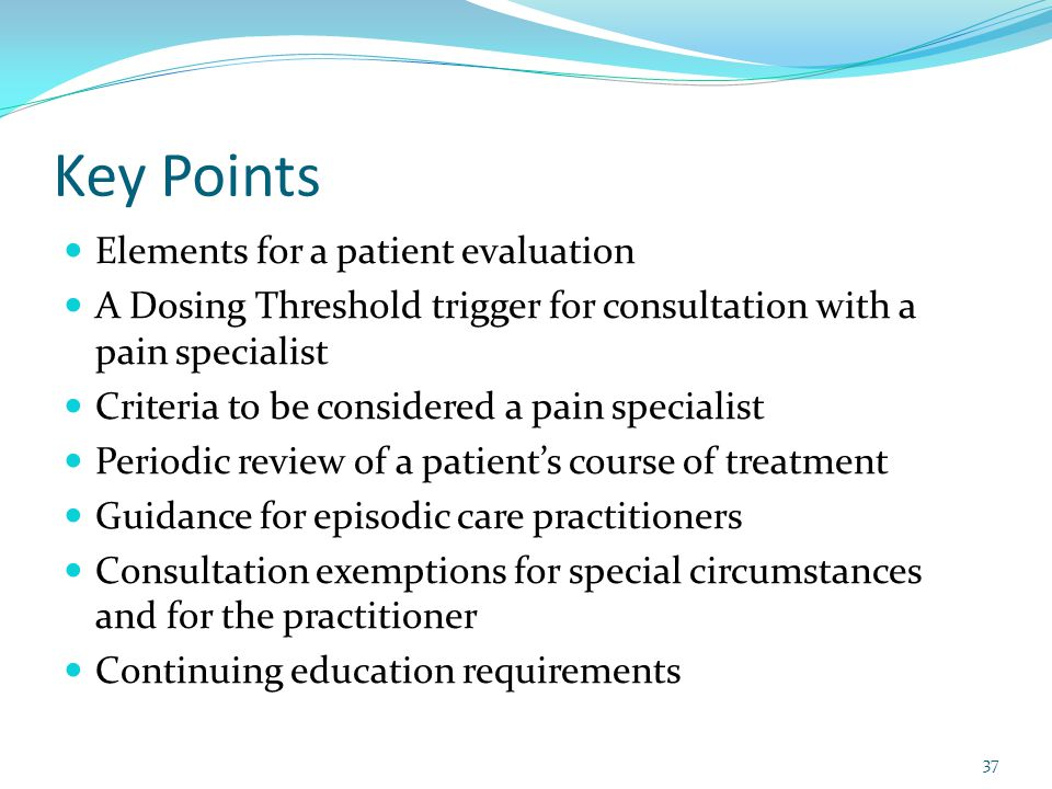 Key Points Elements for a patient evaluation