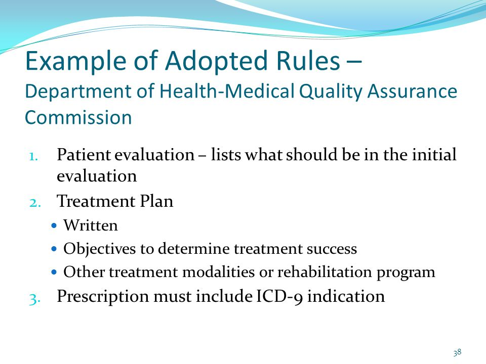 Example of Adopted Rules – Department of Health-Medical Quality Assurance Commission