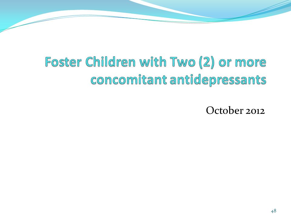 Foster Children with Two (2) or more concomitant antidepressants