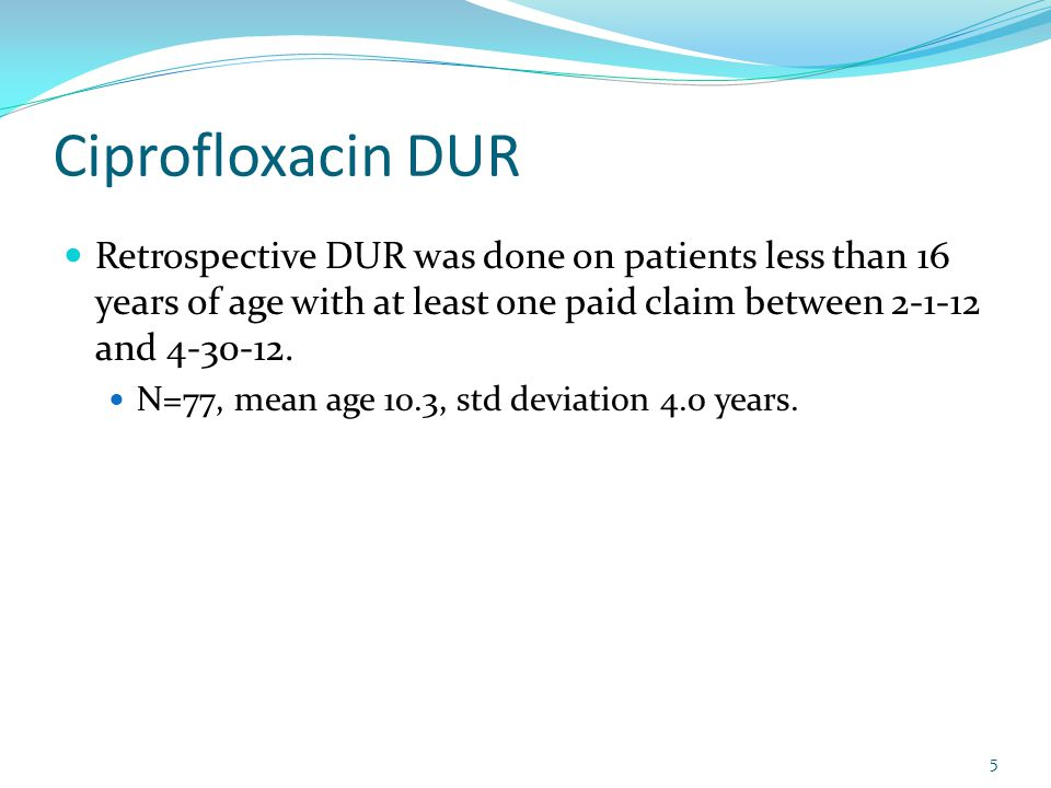 Ciprofloxacin DUR Retrospective DUR was done on patients less than 16 years of age with at least one paid claim between 2-1-12 and 4-30-12.