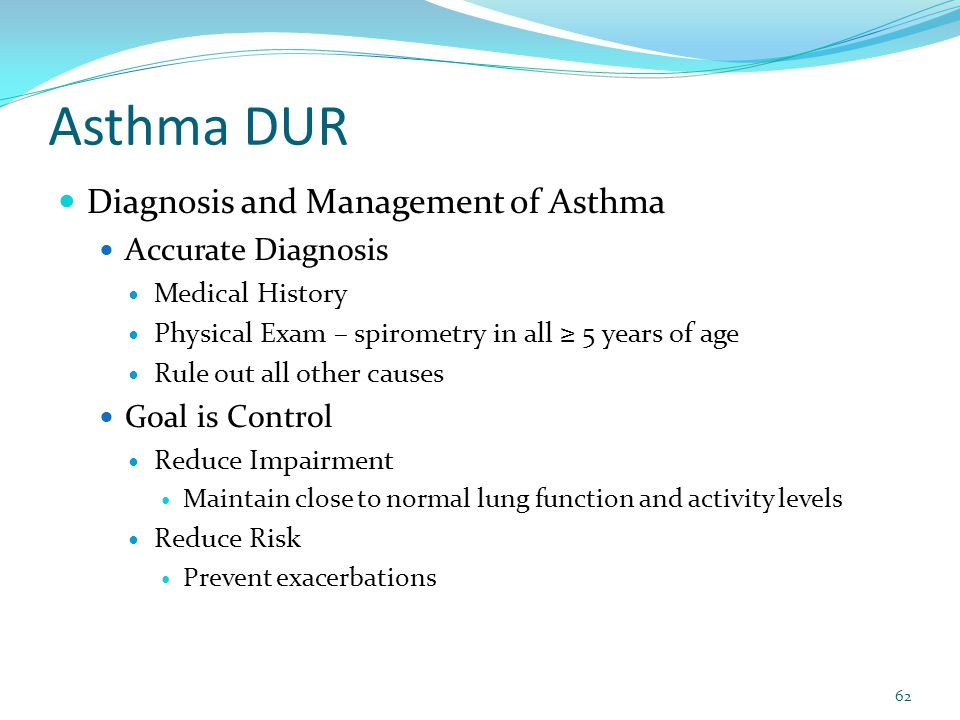 Asthma DUR Diagnosis and Management of Asthma Accurate Diagnosis