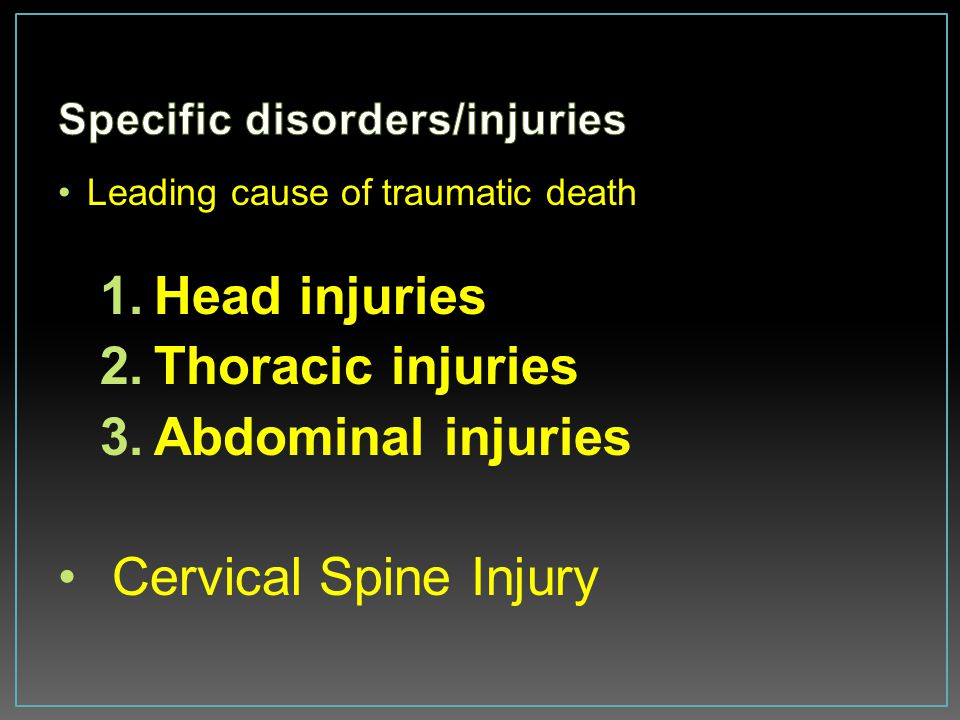 Specific disorders/injuries