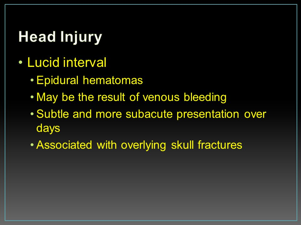 Head Injury Lucid interval Epidural hematomas