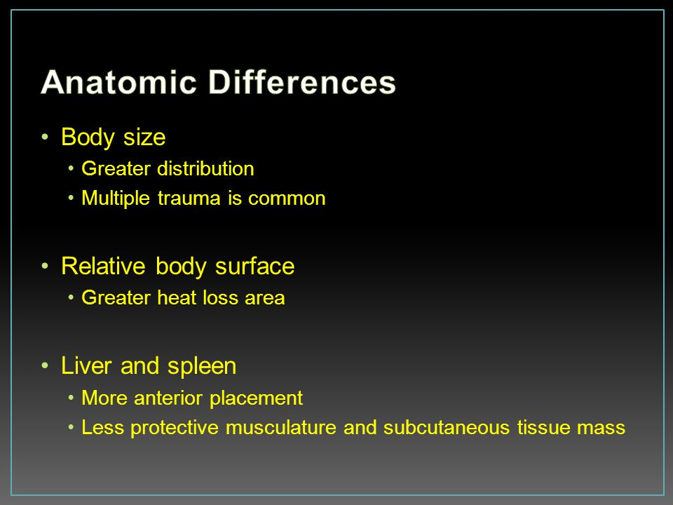 Anatomic Differences Body size Relative body surface Liver and spleen