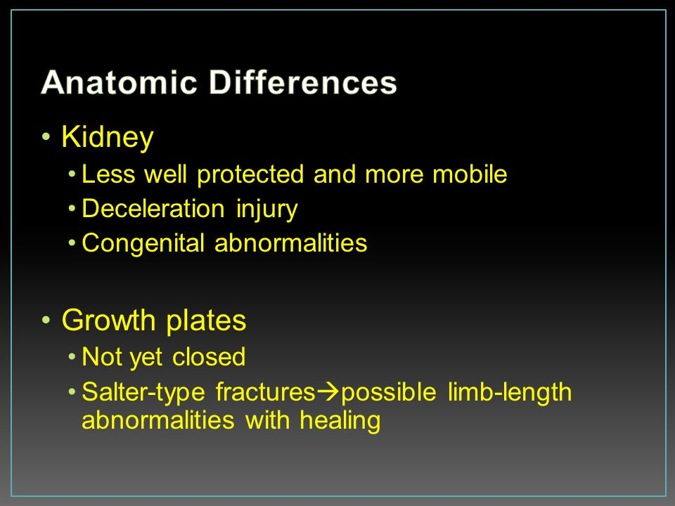 Anatomic Differences Kidney Growth plates
