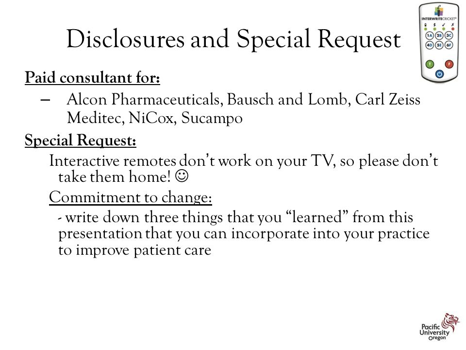 Disclosures and Special Request