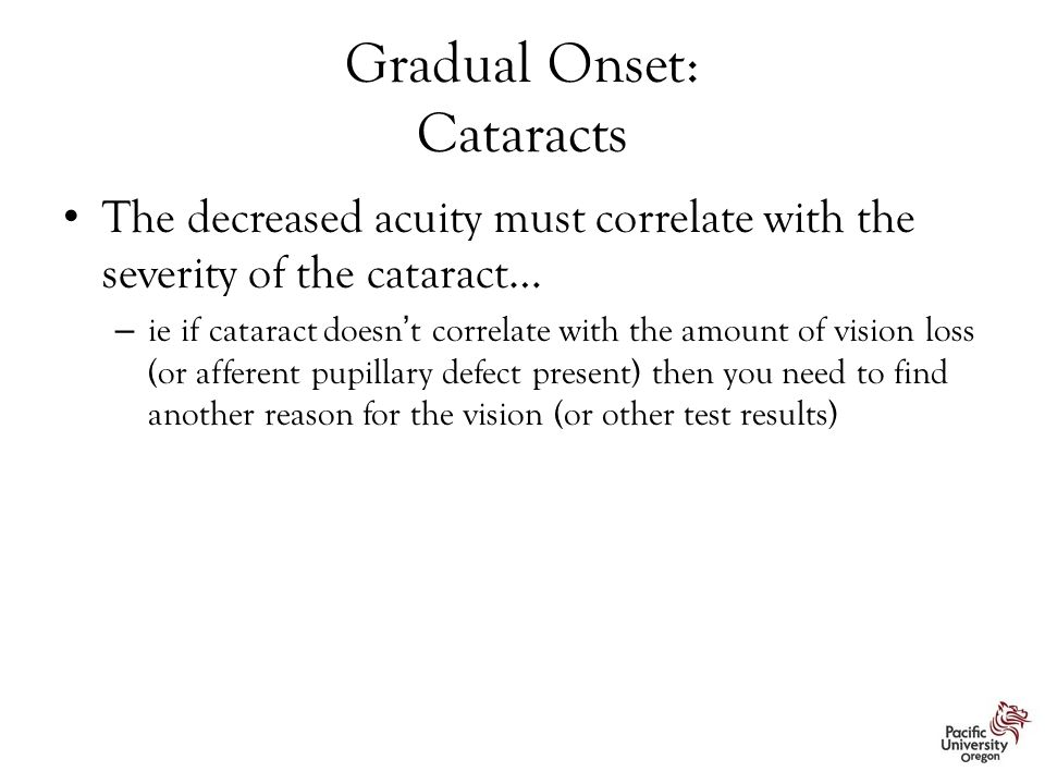 Gradual Onset: Cataracts