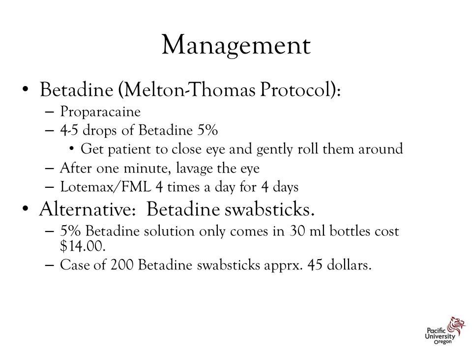 Management Betadine (Melton-Thomas Protocol):