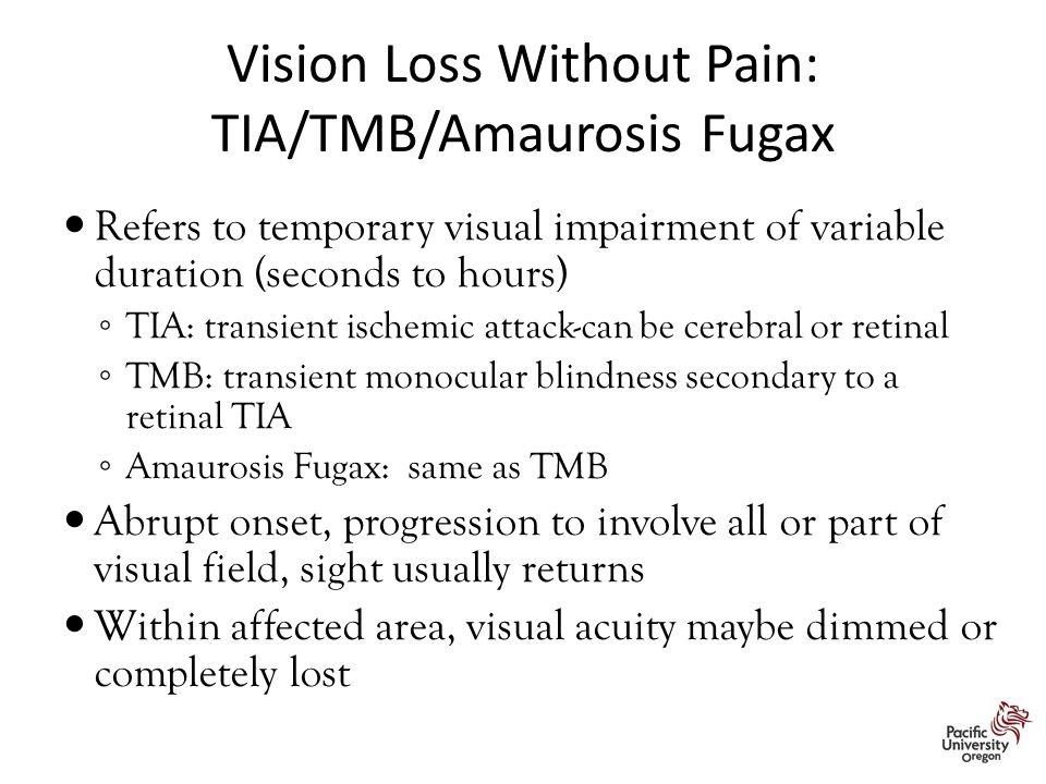 Vision Loss Without Pain: TIA/TMB/Amaurosis Fugax