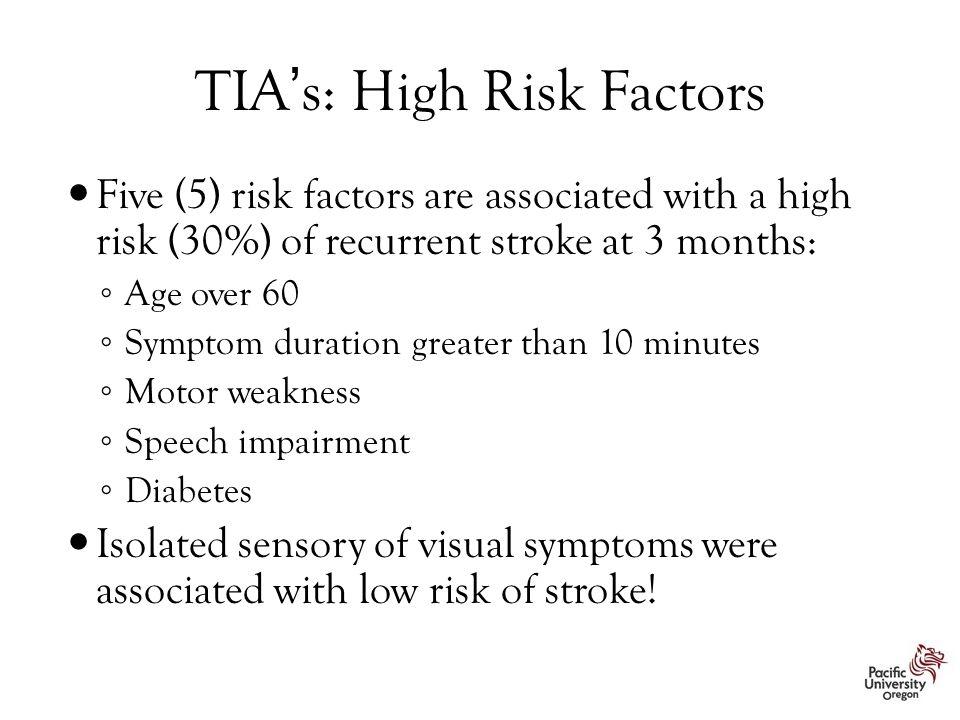 TIA's: High Risk Factors