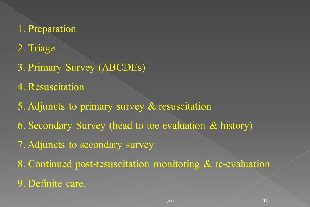 3. Primary Survey (ABCDEs) 4. Resuscitation