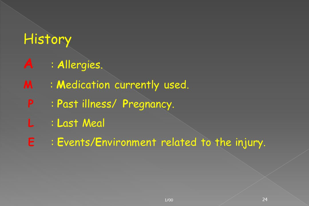 History A : Allergies. M : Medication currently used.