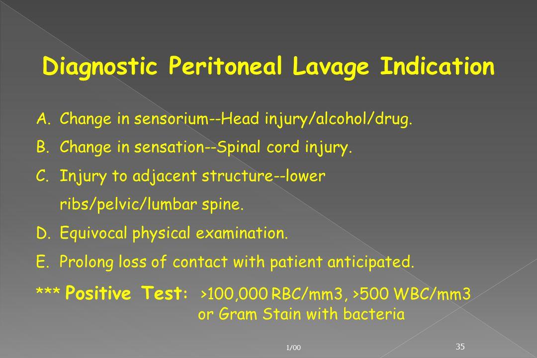 Diagnostic Peritoneal Lavage Indication