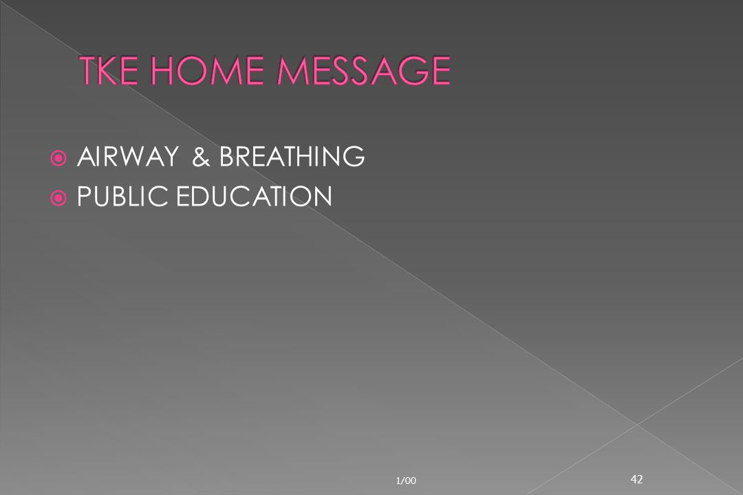 TKE HOME MESSAGE AIRWAY & BREATHING PUBLIC EDUCATION 1/00