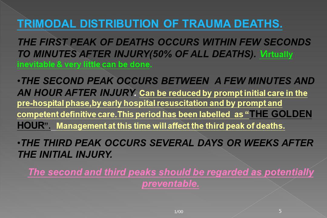 TRIMODAL DISTRIBUTION OF TRAUMA DEATHS.