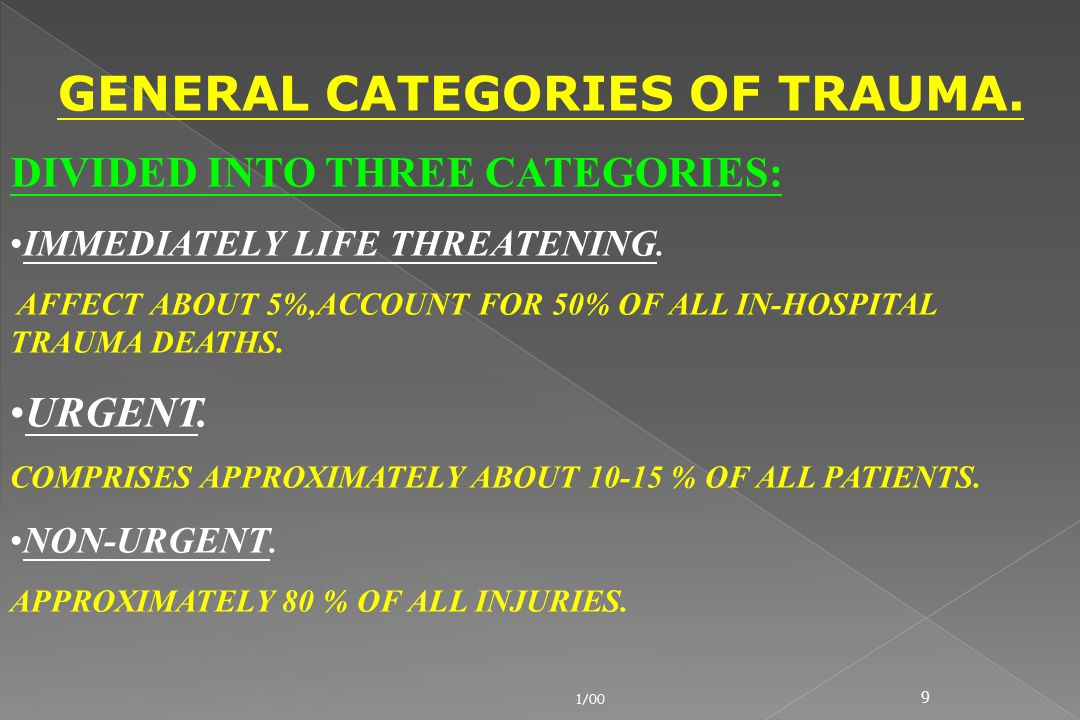 GENERAL CATEGORIES OF TRAUMA.