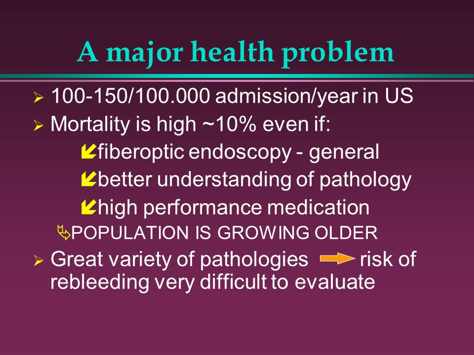 A major health problem 100-150/100.000 admission/year in US