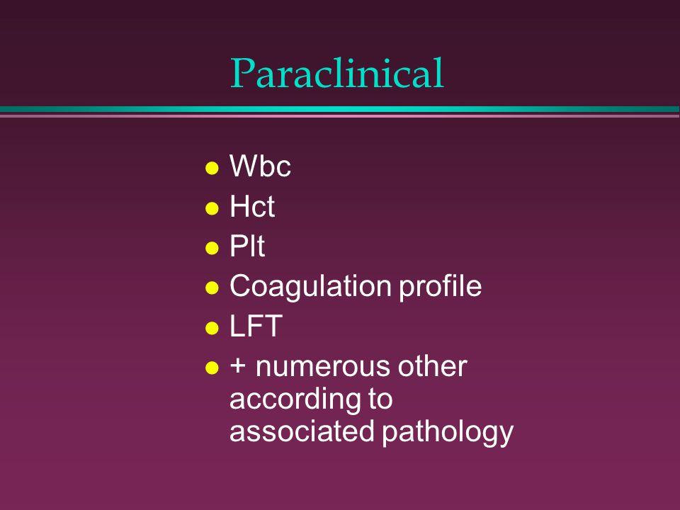 Paraclinical Wbc Hct Plt Coagulation profile LFT