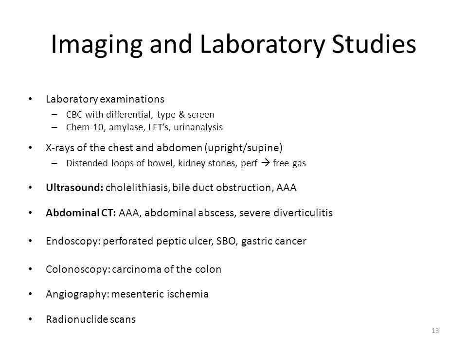 Imaging and Laboratory Studies